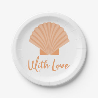 Seashell Orange Nautical Beach Wedding Party Paper Plate