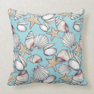 Seashell Pattern Pillow-Coastal Decor-Sea Shells Cushion