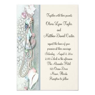 Seashell Pearls Elegant Beach Wedding 13 Cm X 18 Cm Invitation Card