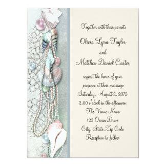 Seashell Pearls Elegant Beach Wedding 17 Cm X 22 Cm Invitation Card