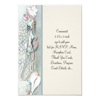 Seashell Pearls Elegant Beach Wedding 9 Cm X 13 Cm Invitation Card