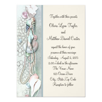 Seashell Pearls Elegant Beach Wedding Card