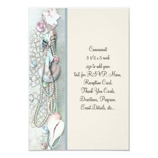 Seashell Pearls Elegant Beach Wedding Card