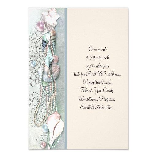 Seashell Pearls Elegant Beach Wedding Personalized Invitation
