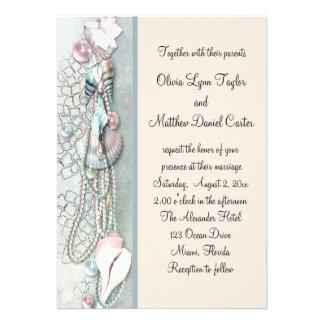Seashell Pearls Elegant Beach Wedding Invitations