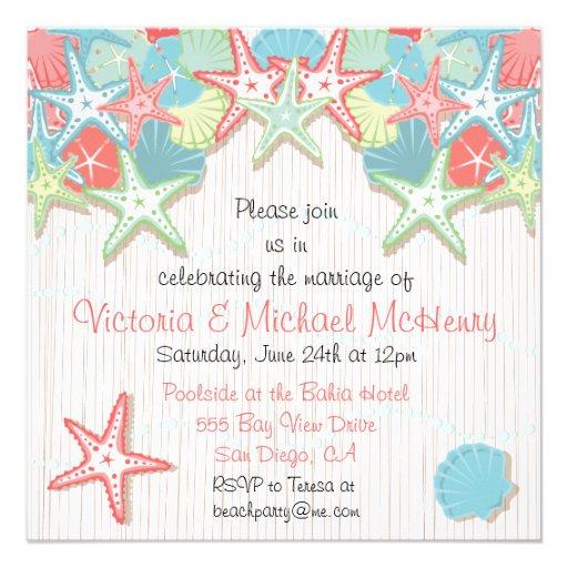 Seashell Post Wedding Reception Party Invitations
