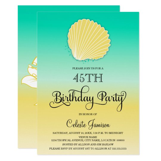 Seashell Sand and Sea Colour Ombre Birthday Party Card
