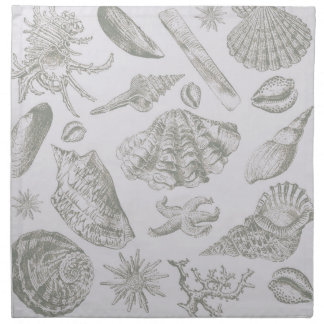 Seashell Shore House Art Print Vintage Drawing Napkin