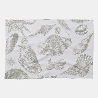 Seashell Soft Antique Art Print Beach House Tea Towel