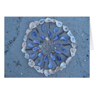 Seashell summer nature art mandala card