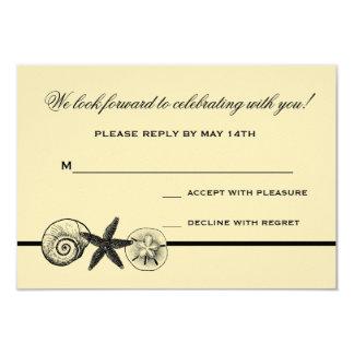Seashell Treasures Wedding Response Card 9 Cm X 13 Cm Invitation Card