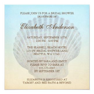 Seashell Tropical Beach Bridal Shower 13 Cm X 13 Cm Square Invitation Card