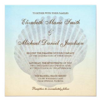 Seashell Tropical Beach Wedding Invitations