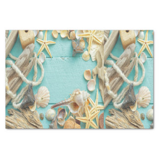 seashell,vintage,collage,turquoise,chic,trendy,fun tissue paper