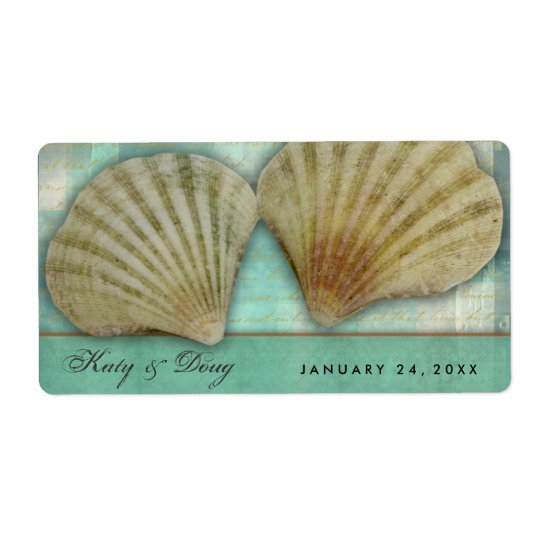 Seashell wedding labels with blue green accent