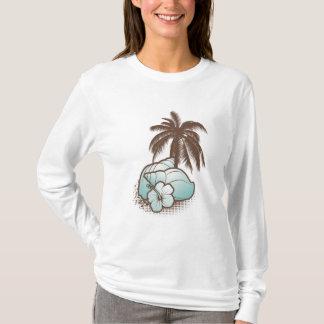 seashells and palmtree 2 blue T-Shirt