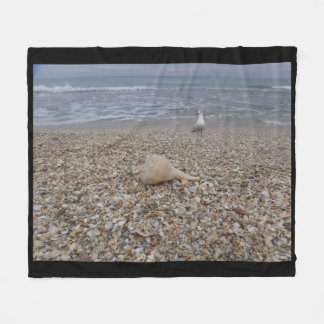 Seashells and Sea Gulls Fleece Blanket
