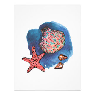 Seashells and starfish 21.5 cm x 28 cm flyer