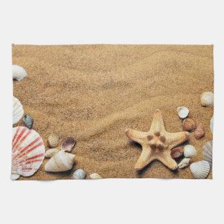 Seashells and Starfish on Beach Hand Towels
