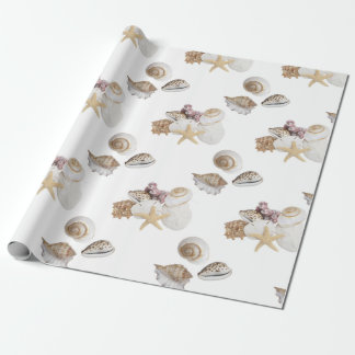Seashells and starfish wrapping paper