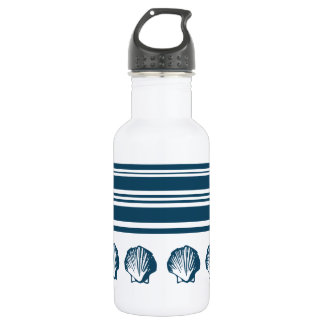Seashells and stripes 532 ml water bottle