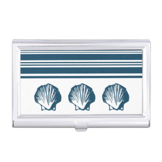 Seashells and stripes business card holder