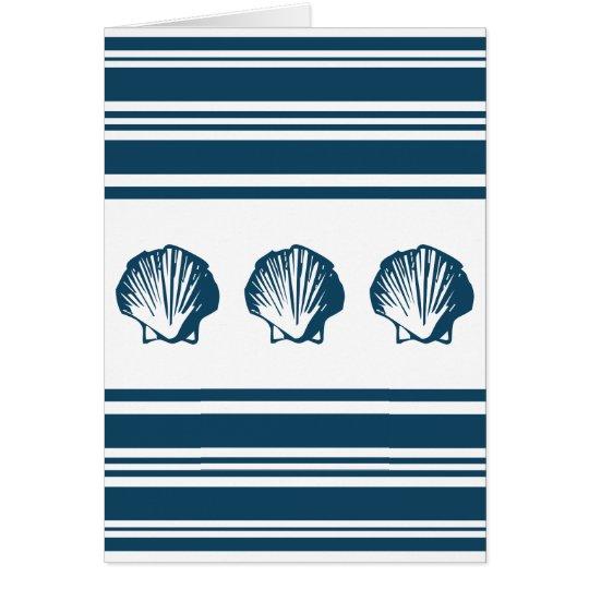Seashells and stripes card