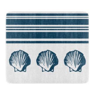 Seashells and stripes cutting board