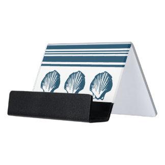 Seashells and stripes desk business card holder