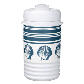 Seashells and stripes drinks cooler