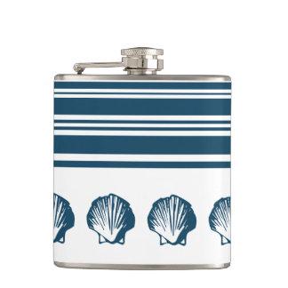 Seashells and stripes hip flask