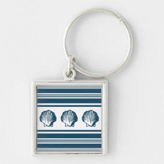 Seashells and stripes key ring
