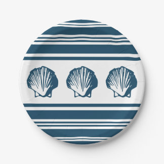 Seashells and stripes paper plate