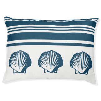 Seashells and stripes pet bed