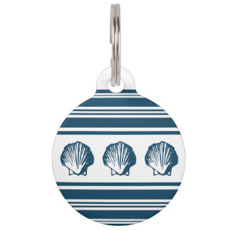 Seashells and stripes pet tag