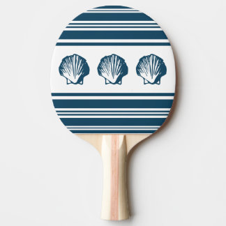 Seashells and stripes ping pong paddle