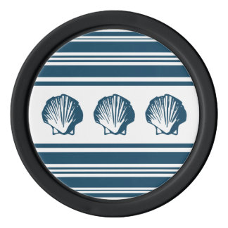 Seashells and stripes poker chips