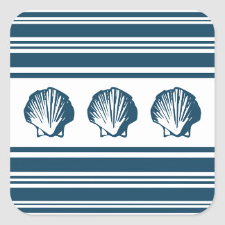 Seashells and stripes square sticker