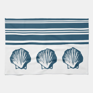 Seashells and stripes tea towel