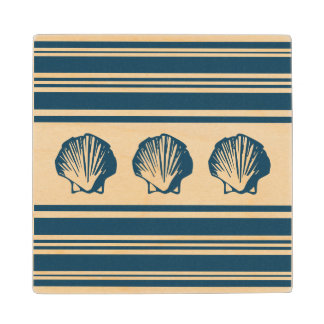 Seashells and stripes wood coaster