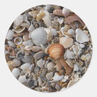 Seashells At The Sea Shore Classic Round Sticker