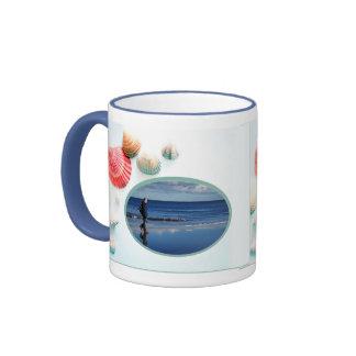 Seashells Background Photo Template Ringer Mug