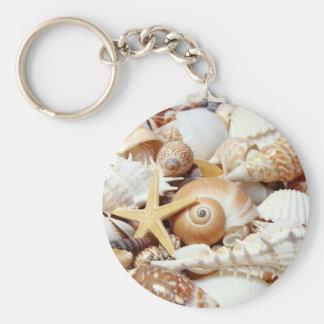 Seashells Basic Round Button Key Ring