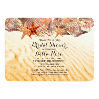 Seashells beach bridal shower invites seashell5