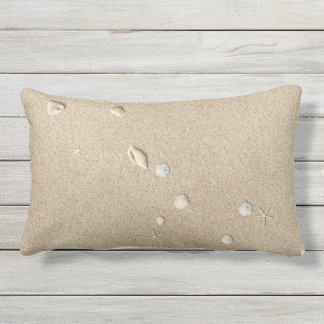 Seashells & Beach Sand Outdoor Pillow