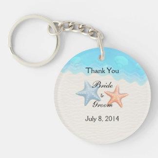 Seashells Beach Thank You Double-Sided Round Acrylic Key Ring