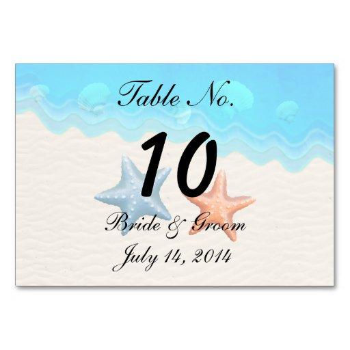 Seashells Beach Wedding Table Card