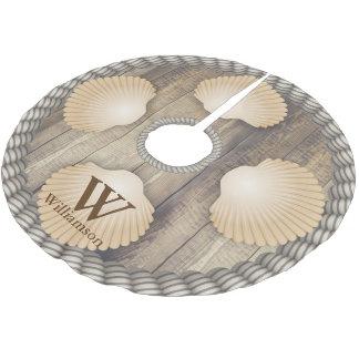 Seashells Beach Wooden Planks White Ropes Monogram Brushed Polyester Tree Skirt