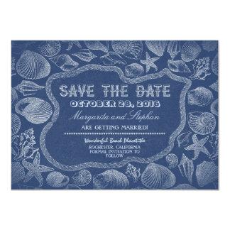 seashells blue beach wedding save the date custom announcement