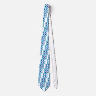 Seashells blue on white tie